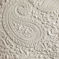 White embossed  leather