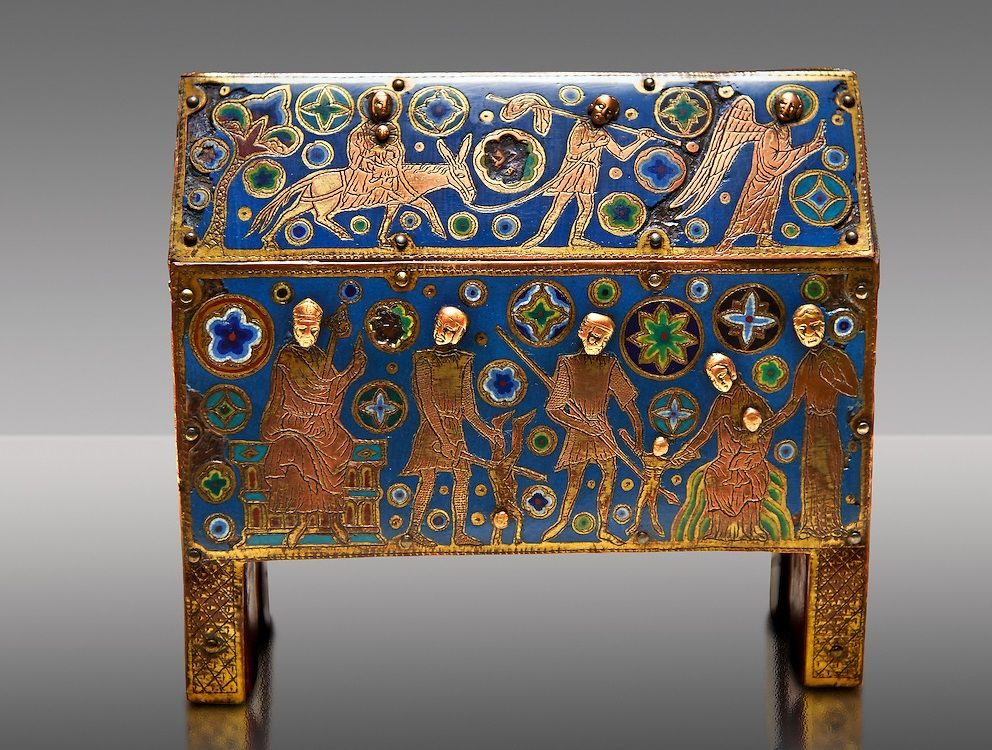 Gothic chest decorated with the Slaughter of the Innocents from Limoges Circa 1210-1220. Engraved copper with inlaid enamel champlevé and glass on wooden core. National Museum of Catalan Art, Barcelona, Spain