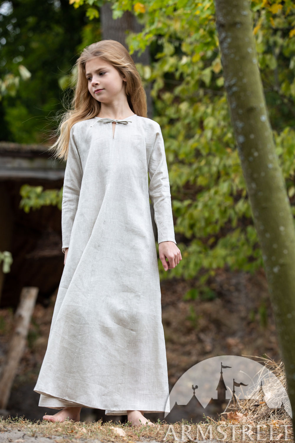 "Long linen underdress chemise for kids ""First Adventure"""