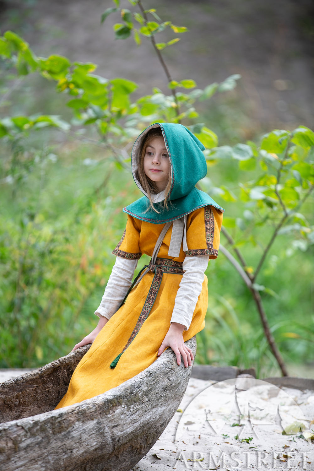 "Children's woolen hood with embroidery ""First Adventure"""