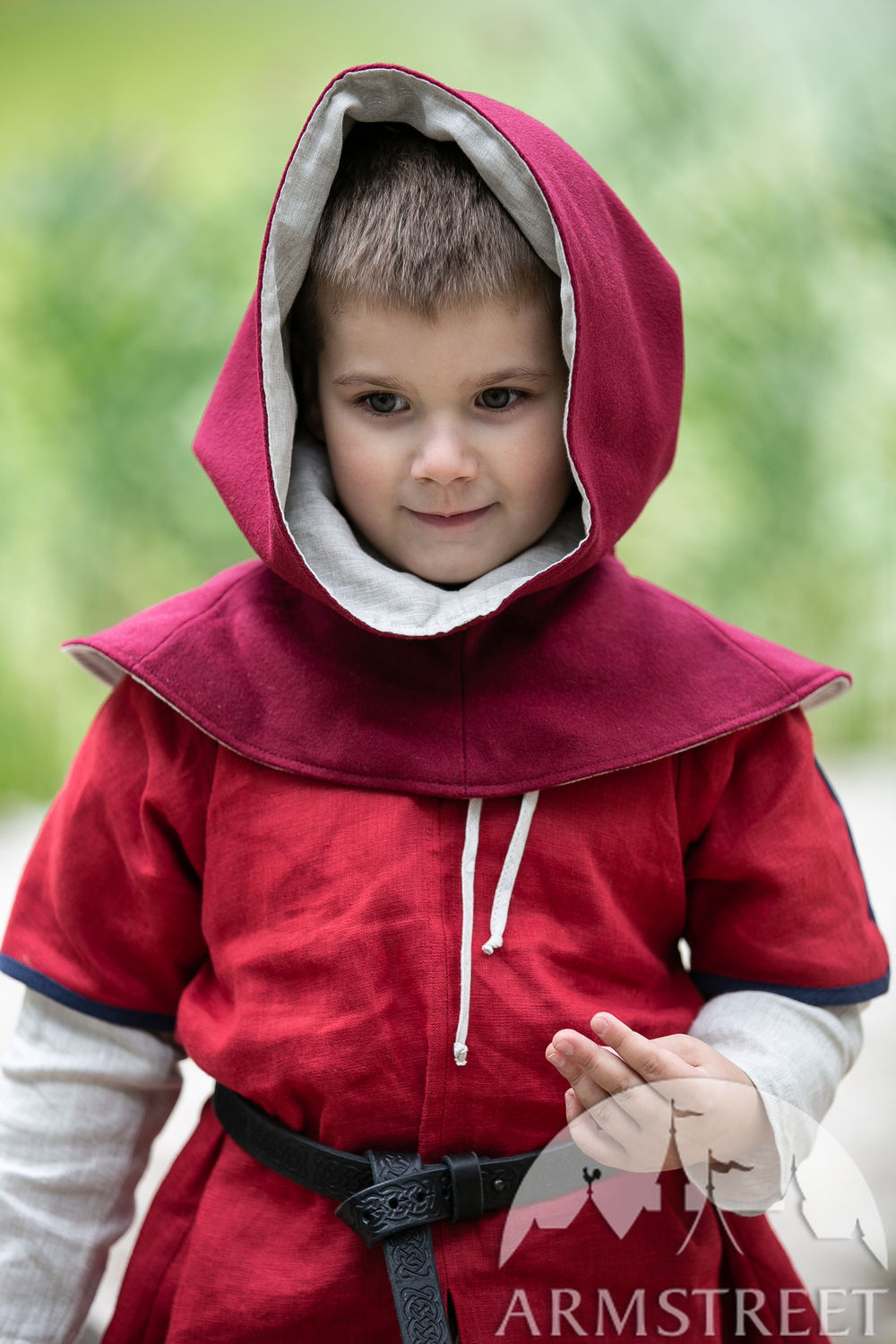 "Children's woolen hood with linen lining ""First Adventure"""