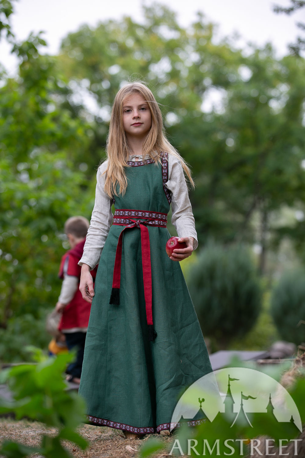 "Girl's set: undetunic, sleeveless surcoat and fabric belt ""First Adventure"""