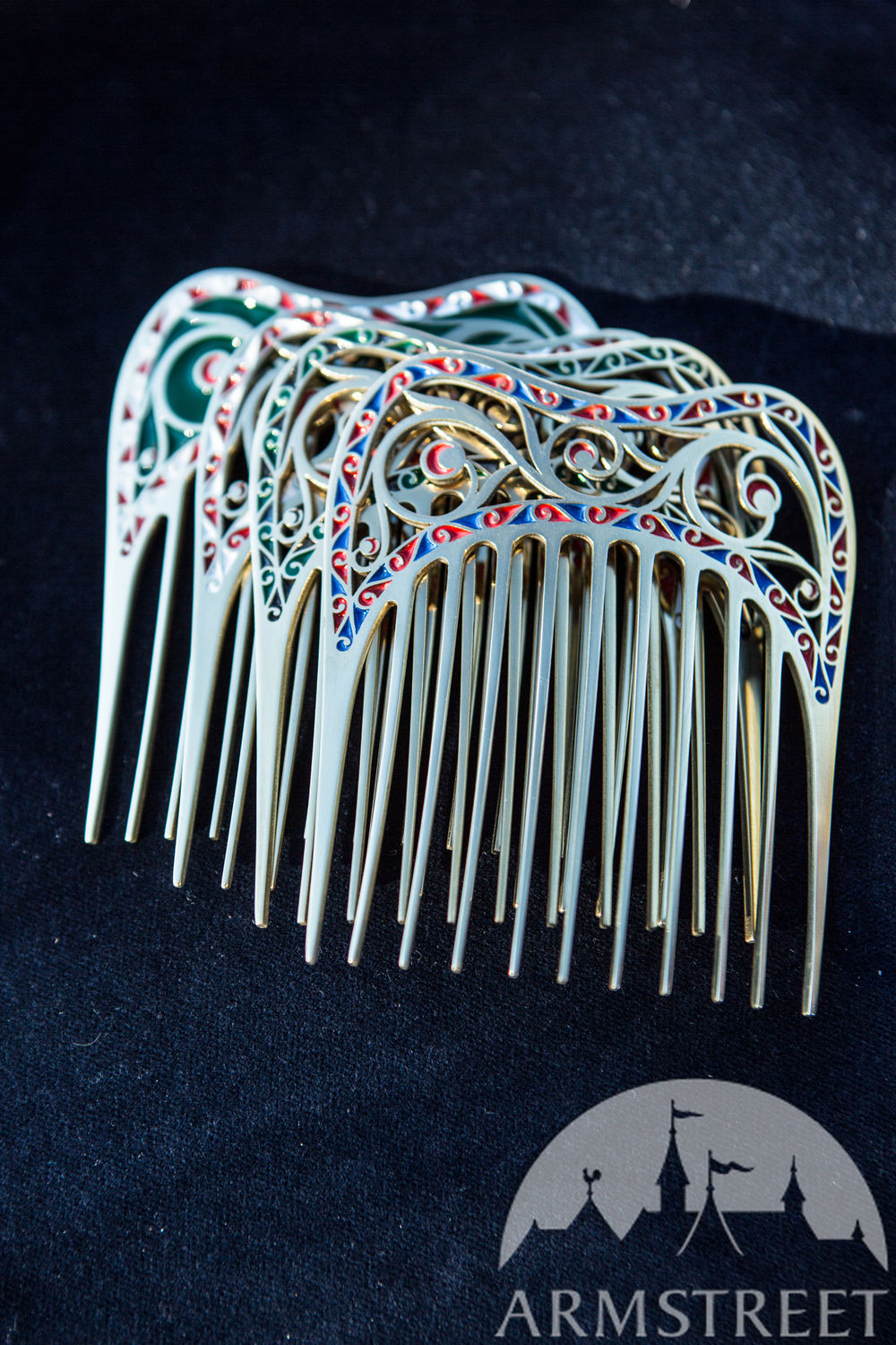"Brass and enamel hair comb ""Renaissance Memories"""