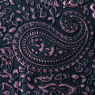 Fushia on black embossed leather